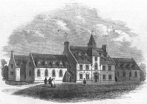"Hugh Fortescue, 2nd Earl Fortescue - ""Devon County School, West Buckland, recently opened by Earl Fortescue"". Print published in Illustrated London News, 1861"