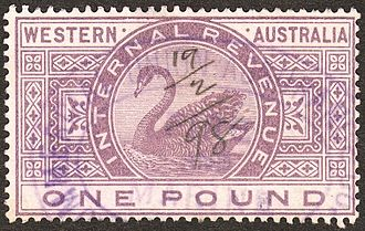 Revenue stamp - An 1898 £1 revenue stamp of Western Australia