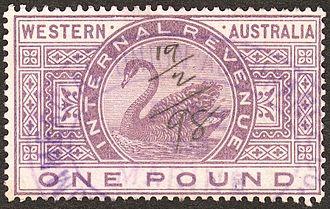 Revenue stamps of Western Australia - An 1898 Internal Revenue £1 stamp.