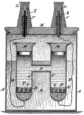 Weston cell - Drawing from Edward Weston's US Patent 494827 depicting the standard cell.
