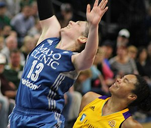 Lindsay Whalen - Whalen at the 2016 WNBA Finals. Kristi Toliver of the Los Angeles Sparks at right