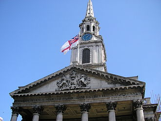 White Ensign - The White Ensign flying from St Martin-in-the-Fields church in Trafalgar Square, London.