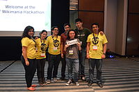 Wikimedia Mexico volunteers on first day of Wikimania 2015 04.JPG