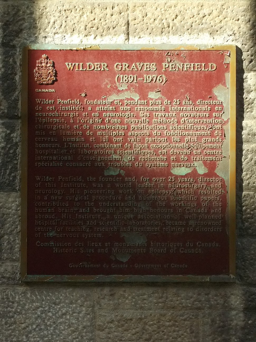 Wilder Penfield plaque Montreal