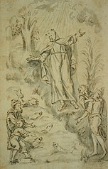 Design for a bas-relief with St. Francis of Assisi preaching to the fish