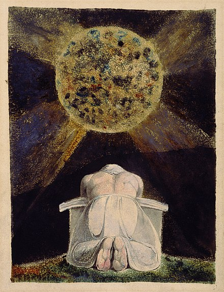 The archetype of the Creator is a familiar image in Blake's work. Here, the demiurgic figure Urizen prays before the world he has forged. The Song of Los is the third in a series of illuminated books painted by Blake and his wife, collectively known as the Continental Prophecies. William Blake - Sconfitta - Frontispiece to The Song of Los.jpg