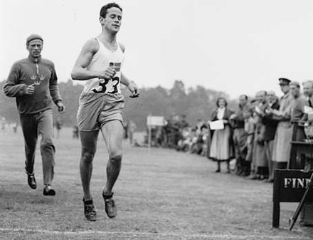 Gold medalist William Grut of Sweden (foreground) competing in the running component of the modern pentathlon. William Grut and Sune Wehlin 1948.jpg