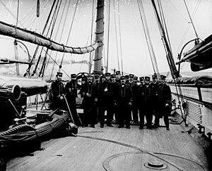 USS Kearsarge (1861) - A photo of naval officers on board Kearsarge, including Captain John A. Winslow (foreground, third from the left), shortly after the sinking of CSS Alabama.