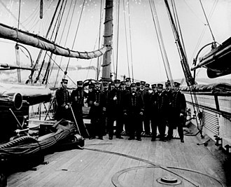 John Ancrum Winslow - Capt. John A. Winslow (3d from left) and officers on board the USS Kearsarge after sinking the CSS Alabama, 1864.