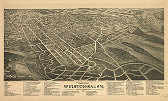 "Winston-Salem, North Carolina - A map of then known ""Winston-Salem"" in 1891, showing the development of Main Street and Fourth Street during the industrial tobacco boom--dozens of tobacco factories appear in downtown Winston, including ones owned by Hanes and Reynolds."