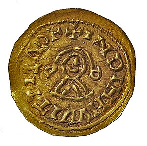 Economic history of Portugal - A golden triente minted at Braga during the reign of Wittiza and bearing his rough effigy.