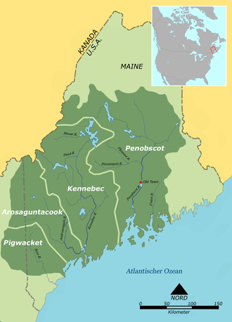 Pequawket - Approximate original location of the Pequawket (Pigwacket) and other Abenaki groups