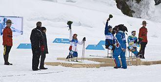 Biathlon at the 2010 Winter Paralympics – Women's pursuit - Women's 2.4km Pursuit Sitting - flower ceremony