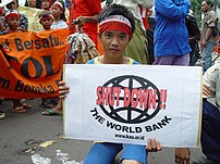 A young World Bank protester takes to the stre...
