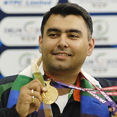 XIX Commonwealth Games-2010 Delhi Gagan Narang won the Gold medal in (Men's) Shooting Rifle 50m pairs (cropped).jpg
