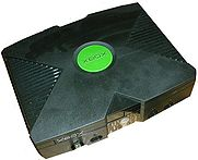 The Xbox, Microsoft's ticket into the videogame console industry.