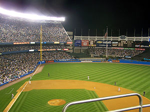 Baseball park - Picture of old Yankee Stadium showing its left field fence, which was famous for being farther than the right.