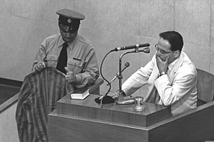 Yehiel De-Nur testifies at the trial of Adolf ...