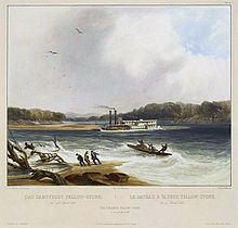 Painting of a steamboat stranded on a sandbar in the middle of a swift-flowing river
