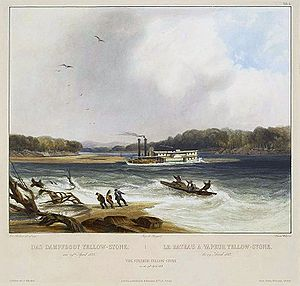 Cow Creek (Montana) - Missouri River side-wheel Steamboat Yellowstone struggling over sand bar 1833--print based on a painting by Karl Bodmer