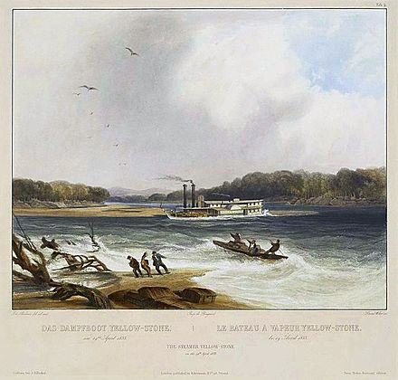 Painting of the steamboat Yellowstone, one of the earliest commercial vessels to run on the river, circa 1833. The dangerous currents in the river caused the ship to run aground on a sandbar in this illustration. Yellowstone (steamboat) aground.jpg