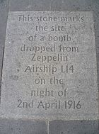 Zeppelin flagstone in the Grassmarket, Edinburgh
