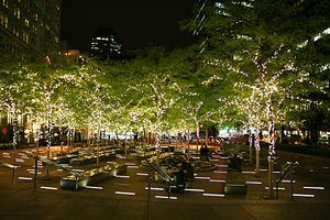 Zuccotti Park - The park at night during the holiday season