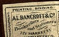 """AL BANCROFT & Co."" ""Booksellers and Stationers"" ""721 Market St. San Fransisco"" detail, An introduction to geology BHL18165976 (cropped).jpg"