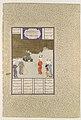 """Bahrum Gur Before His Father, Yazdigird I"", Folio 551v from the Shahnama (Book of Kings) of Shah Tahmasp MET DP107205.jpg"