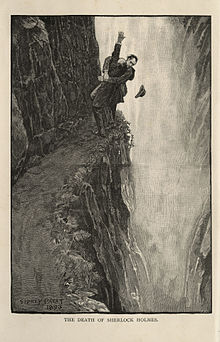 """The Death of Sherlock Holmes"" (frontispiece from The Memoirs of Sherlock Holmes, 1894).jpg"
