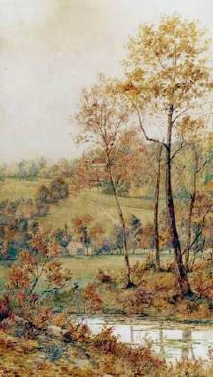 Adrien Taunay the Younger - 'Autumn Landscape' painting by Adrien Taunay the Younger