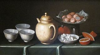 Still Life with Fruit and Pottery