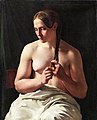 'Woman Plaiting her Hair' by Ludvig August Smith, 1839.jpg