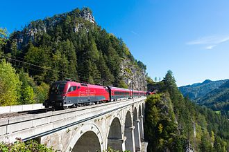 Railjet - ÖBB Railjet passing over the Krauselklause viaduct on the Semmering railway