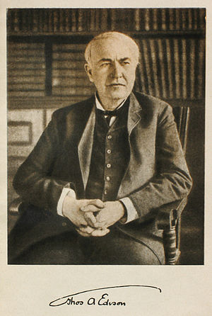 Thomas Alva Edison photo and signature. 1915. ...