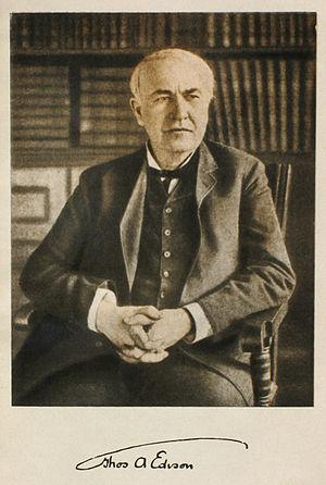 Thomas Alva Edison photo and signature. 1915. ...