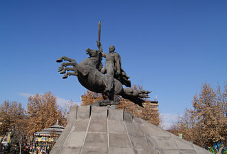 Ara Shiraz - The equestrian statue of Andranik by Shiraz near the Saint Gregory Cathedral in central Yerevan