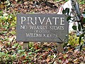 -2020-10-18 Sign, Private No Weasels, Stoats or Wildwooders (Wind in the Willows), Gunton Park, Hanworth.JPG