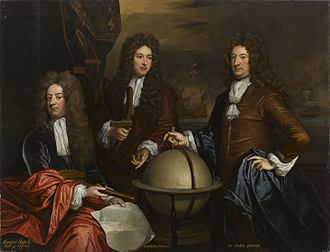 Edward Russell, 1st Earl of Orford - Painting by Godfrey Kneller showing Orford (left) with Admiral John Benbow and Admiral Ralph Delaval