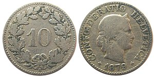 Coins of the Swiss franc - A ten-cent coin from 1879.