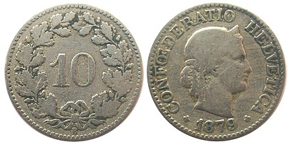 A Swiss ten-cent coin from 1879, similar to the oldest coins still in official use today 10cts1879.jpg