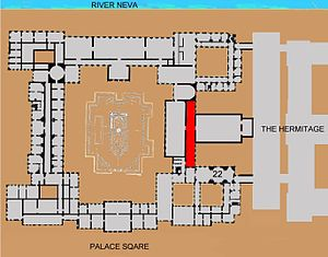 Military Gallery of the Winter Palace - Plan showing the location of the Military Gallery within the palace