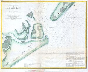 San Luis Pass - 1853 chart of San Luis Pass, by the U.S. Coast Guard. The area has changed since then.