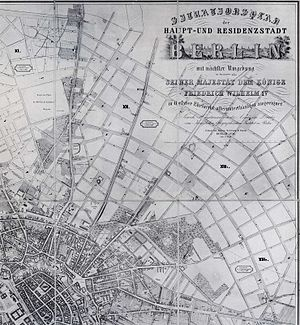 Hobrecht-Plan - the land-use plan of 1858 for north-eastern directions – before Prenzlauer Berg and Friedrichshain quarters were built