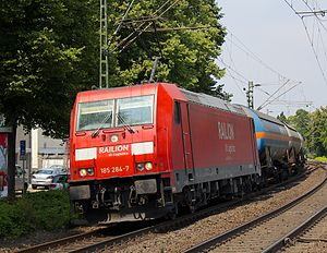 TRAXX - An F140 AC2 with a goods train near Königswinter, 2013.