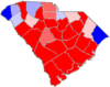 Red counties were won by Scott and blue counties were won by Porter