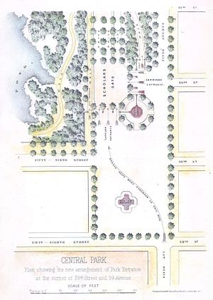 Pulitzer Fountain - Image: 1869 Knapp Map of the Southeast Corner of Central Park (Grand Army Plaza) New York City Geographicus Central Park SW centralpark 1869