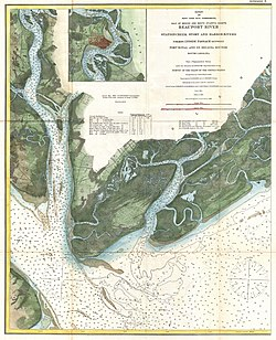 "1882 U.S. Coast Survey Map of Beaufort River, showing the island (at left) designated ""Paris I."""