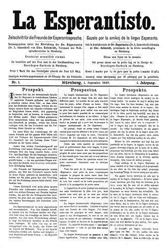 La Esperantisto - First edition of La Esperantisto, published on September 1, 1889