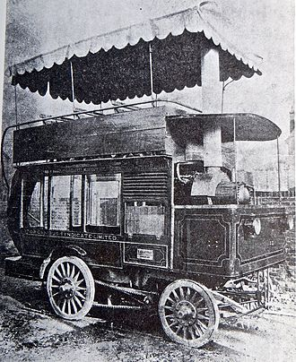 Steam bus - Image: 1898 steam bus built by E Gillett & Co of Hounslow and licensed by the Metropolitan Police on 21 Jan 1899